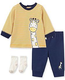 Little  Me Baby Boy and Girl Giraffe Jogger Set and Sock
