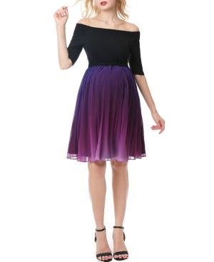 kimi + kai Carolina Convertible Off Shoulder Ombre Maternity Dress