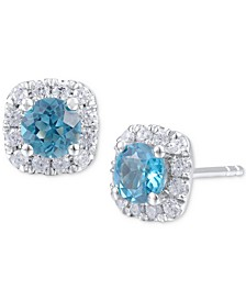 Blue Diamond and White Diamond Halo Stud Earrings (1-1/4 ct. t.w.) in 14k White Gold