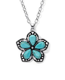 Simulated Turquoise in Fine Silver Plated Flower Pendant Necklace
