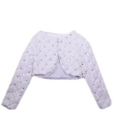 Big Girl Long Sleeve Sequin Faux Fur Jacket