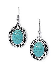 Simulated Turquoise in Fine Silver Plated Oval Greek Key Design Wire Earrings