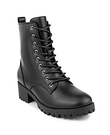 Women's Reggie Lace Up Lug Sole Combat Boots