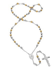 Madonna And Crucifix Rosary Necklace in Two-Tone Stainless Steel