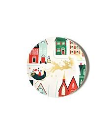 Retro Christmas Village Salad Plate