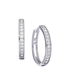 Cubic Zirconia Pave Round Hoop Earrings