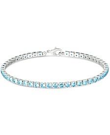 Simulated Blue Topaz Line Bracelet