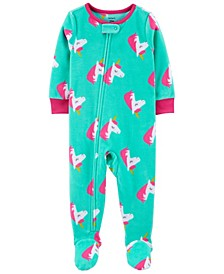 Toddler Girl 1-Piece Unicorn Fleece Footie PJs