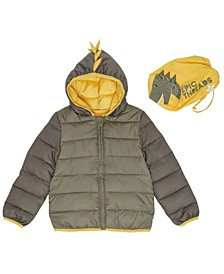 Toddler Boys Dinosaur Hooded Full Zip Packable Jacket with Matching Bag