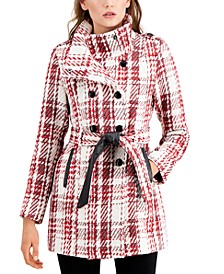 Juniors' Plaid Double-Breasted Belted Wool Coat