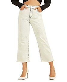 Ripped Wide-Leg Cropped Jeans