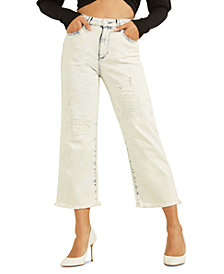GUESS Ripped Wide-Leg Cropped Jeans