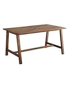 "60"" Acacia Wood Chevron Dining Table"