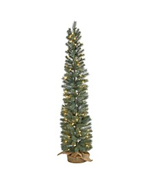 Pine Artificial Christmas Tree with 70 Warm Lights Set in A Burlap Base
