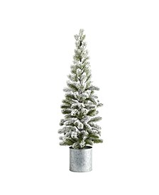 Flocked Christmas Artificial Pine Tree in Tin Planter