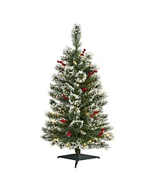 Frosted Swiss Pine Artificial Christmas Tree with 50 Clear LED Lights and Berries