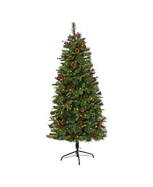 Mixed Pine Artificial Christmas Tree with 250 Clear LED Lights, Pine Cones and Berries