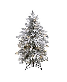 Flocked Montana Down Swept Spruce Artificial Christmas Tree with 70 Clear LED Lights