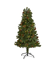 Rocky Mountain Spruce Artificial Christmas Tree with Pinecones and 100 Clear LED Lights