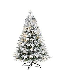 Flocked Vermont Mixed Pine Artificial Christmas Tree with 100 Clear LED Lights