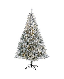 Flocked Rock Springs Spruce Artificial Christmas Tree with 350 Clear LED Lights and 800 Bendable Branches