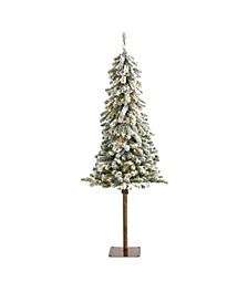 Flocked Alpine Christmas Artificial Tree with 150 Lights and 405 Bendable Branches