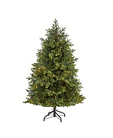 North Carolina Fir Artificial Christmas Tree with 450 Clear Lights and 2303 Bendable Branches