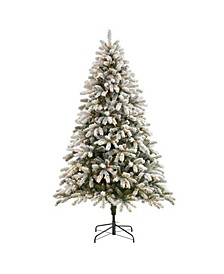 Flocked South Carolina Spruce Artificial Christmas Tree with 600 Clear Lights and 1537 Bendable Branches