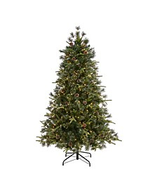 Snowed Tipped Clermont Mixed Pine Artificial Christmas Tree with 250 Clear LED Lights, Pine Cones and 1242 Bendable Branches