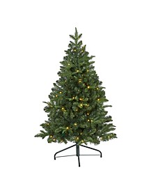 Grand Teton Spruce Flat Back Artificial Christmas Tree with 90 Clear LED Lights and 369 Bendable Branches