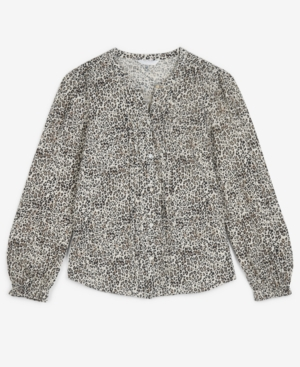 Lucky Brand Cotton Animal-print Pintuck Blouse In Natural Multi