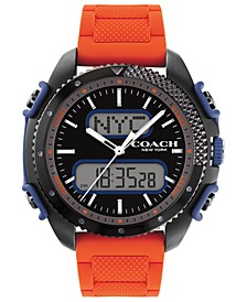 Men's C001 Analog-Digital Orange Silicone Strap Watch 46mm