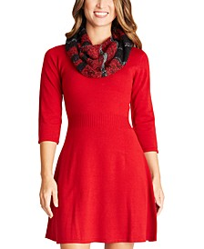 Juniors' Fit & Flare Sweater Dress & Scarf