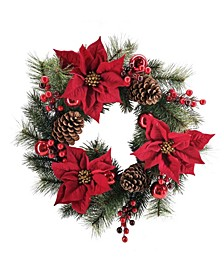 Martha Stewart Red Poinsettia Wreath, Created for Macys