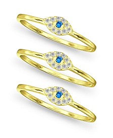 Cubic Zirconia Evil Eye Trio 18K Gold Plate Stack Ring, Set of 3 Rings