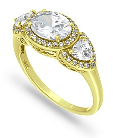Cubic Zirconia Round 3 Stone 18K Gold Plate Halo Ring