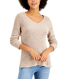 Petite V-Neck Cotton Sweater, Created for Macy's