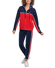 Tommy Hilfiger Sport Velour Colorblocked Graphic Hoodie