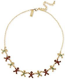 "INC Gold-Tone Crystal & Bead Gingerbread Statement Necklace, 18"" + 3"" extender, Created for Macy's"