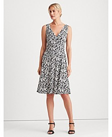 Printed Jersey Surplice Dress