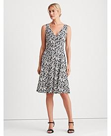 Printed Jersey Surplice Dress
