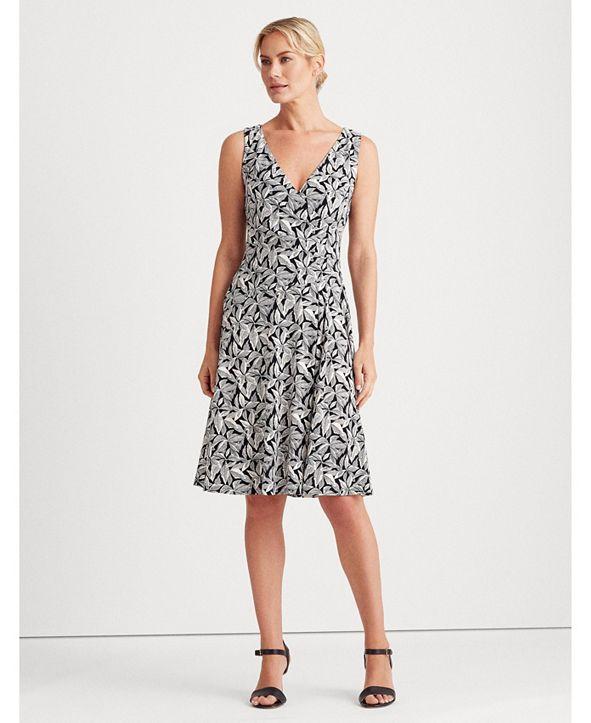 Lauren Ralph Lauren Printed Jersey Surplice Dress