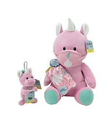 WelloBeez Plush Mask Mate Masked Unicorn with Additional Child's Face Mask, and Clip  Clean Plush Keychain with Empty, Refillable Sanitizer Bottle