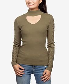 Juniors' Choker Sweater