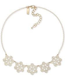 """INC Two-Tone Snowflake Statement Necklace, 18"""" + 3"""" extender, Created for Macy's"""