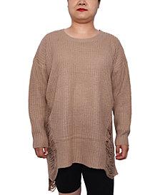 Derek Heart Trendy Plus Size Distressed High-Low Sweater