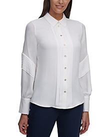 Pleated-Trim Shirt