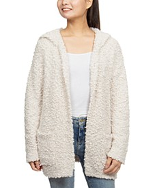 Juniors' Plush Hooded Cardigan