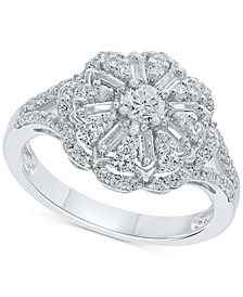 Diamond Flower Cluster Ring (1 ct. t.w.) in 10k White Gold
