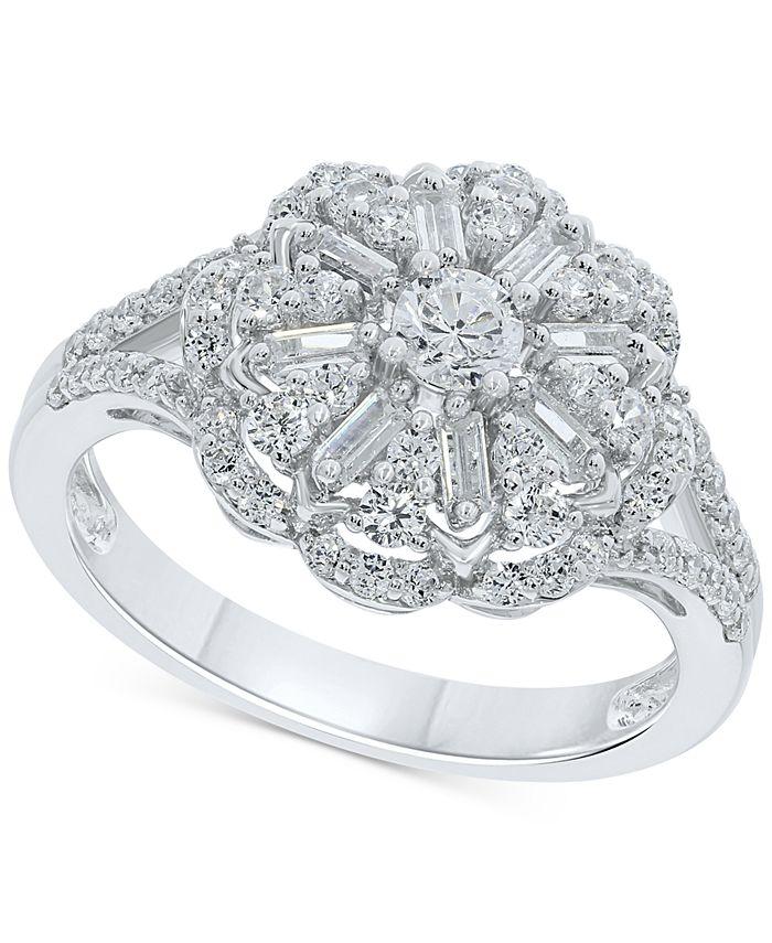 Macy's - Diamond Flower Cluster Ring (1 ct. t.w.) in 10k White Gold